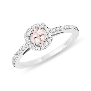 GOLD ENGAGEMENT RING WITH MORGANITE AND DIAMONDS - ENGAGEMENT HALO RINGS - ENGAGEMENT RINGS