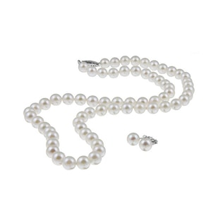 GOLD NECKLACE AND EARRINGS SET WITH AKOYA PEARLS - PEARL SETS - PEARL JEWELRY