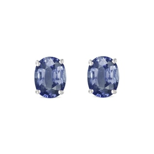 SAPPHIRE EARRINGS IN WHITE GOLD - SAPPHIRE EARRINGS - EARRINGS