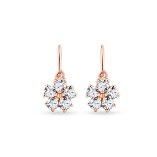CHILDREN'S ROSE GOLD EARRINGS WITH CZ STONES - CHILDREN'S EARRINGS - EARRINGS