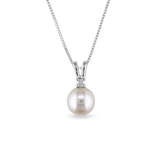 SOUTH PACIFIC PEARL AND DIAMOND PENDANT IN 14KT GOLD - PEARL PENDANTS - PEARL JEWELRY