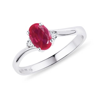 RUBY AND DIAMOND RING IN STERLING SILVER - ENGAGEMENT GEMSTONE RINGS - ENGAGEMENT RINGS