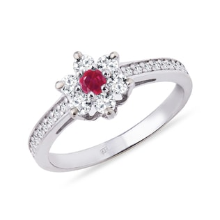 GOLD DIAMOND RING SHAPED FLOWERS WITH RUBY - RUBY RINGS - RINGS