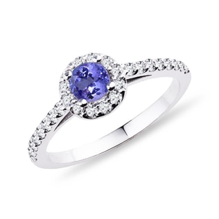 GOLD RING WITH DIAMONDS AND TANZANITE - TANZANITE RINGS - RINGS