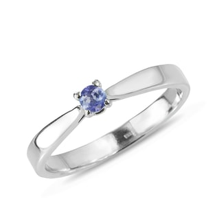 TANZANITE RING IN 14KT WHITE GOLD - ENGAGEMENT GEMSTONE RINGS - ENGAGEMENT RINGS