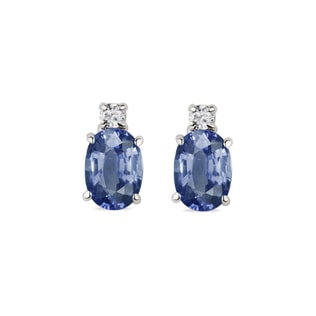 GOLD EARRINGS WITH SAPPHIRE AND DIAMOND - SAPPHIRE EARRINGS - EARRINGS