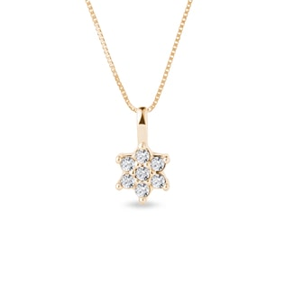 FLOWER-SHAPED DIAMOND NECKLACE IN YELLOW GOLD - DIAMOND PENDANTS - PENDANTS