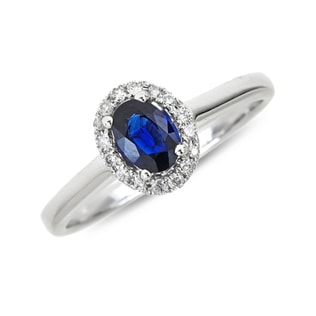 PLATINUM RING WITH SAPPHIRE AND DIAMONDS - ENGAGEMENT HALO RINGS - ENGAGEMENT RINGS