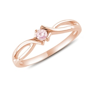 GOLD RING WITH PINK SAPPHIRE - ENGAGEMENT GEMSTONE RINGS - ENGAGEMENT RINGS