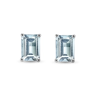 AQUAMARINE EARRINGS IN 14KT GOLD - AQUAMARINE EARRINGS - EARRINGS