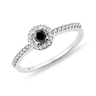 GOLD RING WITH A BLACK DIAMOND - DIAMOND RINGS - RINGS