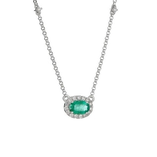 EMERALD AND DIAMOND NECKLACE IN 14KT GOLD - WHITE GOLD PENDANTS - PENDANTS