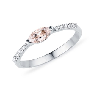 MORGANITE RING WITH DIAMONDS IN WHITE GOLD - GEMSTONE RINGS - RINGS