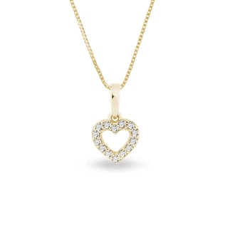 GOLD PENDANT WITH CZ HEART - YELLOW GOLD PENDANTS - PENDANTS