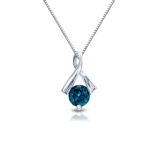 BLUE DIAMOND PENDANT IN 14KT WHITE GOLD - DIAMOND PENDANTS - PENDANTS