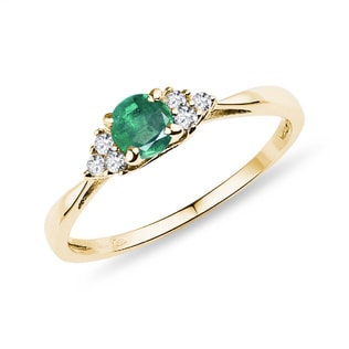 RING WITH EMERALD AND DIAMONDS - EMERALD RINGS - RINGS