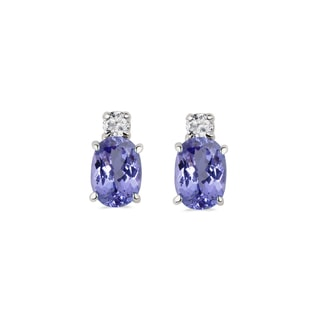 GOLD EARRINGS WITH TANZANITE AND DIAMONDS - TANZANITE EARRINGS - EARRINGS