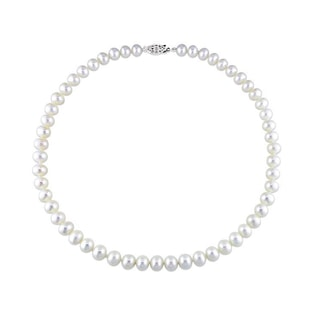 FRESHWATER PEARL NECKLACE IN STERLING SILVER - PEARL NECKLACES - PEARL JEWELRY