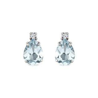 AQUAMARINE AND DIAMOND EARRINGS IN 14KT GOLD - AQUAMARINE EARRINGS - EARRINGS