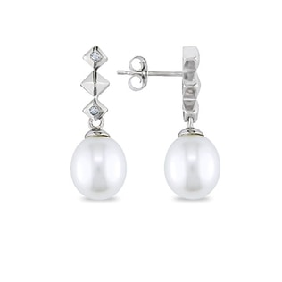 PEARL EARRINGS IN WHITE GOLD - PEARL EARRINGS - PEARL JEWELLERY