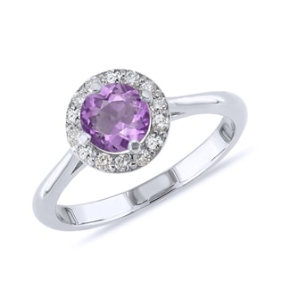 AMETHYST AND DIAMOND RING IN WHITE GOLD - ENGAGEMENT HALO RINGS - ENGAGEMENT RINGS