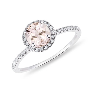 DIAMOND AND MORGANITE RING IN WHITE GOLD - WHITE GOLD FINE JEWELRY - FINE JEWELRY