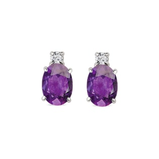 EARRINGS MADE OF WHITE GOLD WITH AMETHYST AND DIAMONDS - AMETHYST EARRINGS - EARRINGS