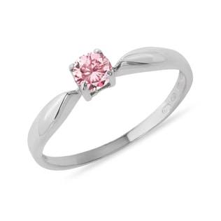 RING WITH A PINK DIAMOND IN 14KT GOLD - FANCY DIAMOND ENGAGEMENT RINGS - ENGAGEMENT RINGS