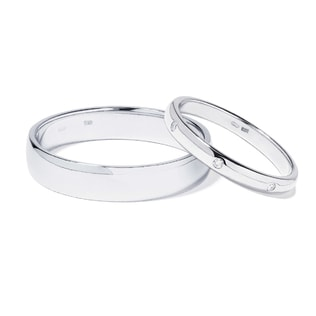 WHITE GOLD WEDDING RINGS WITH DIAMONDS - DIAMOND WEDDING RINGS - WEDDING RINGS