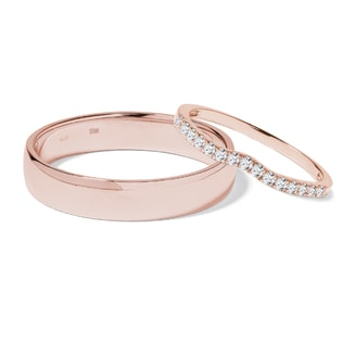 WEDDING RINGS OF ROSE GOLD WITH DIAMONDS - ROSE GOLD RINGS - WEDDING RINGS