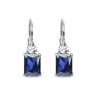 SAPPHIRE AND DIAMOND EARRINGS IN WHITE GOLD - SAPPHIRE EARRINGS - EARRINGS