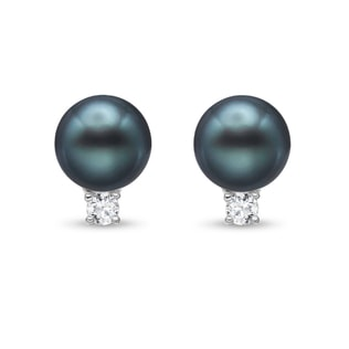 TAHITIAN PEARL AND DIAMOND EARRINGS IN 14KT GOLD - PEARL EARRINGS - PEARL JEWELLERY