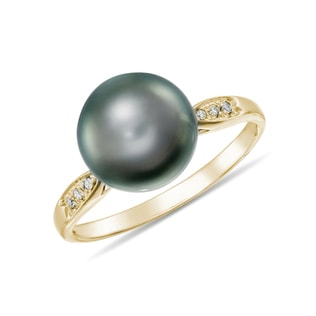 TAHITIAN PEARL AND DIAMOND RING IN 14KT GOLD - PEARL RINGS - PEARL JEWELRY