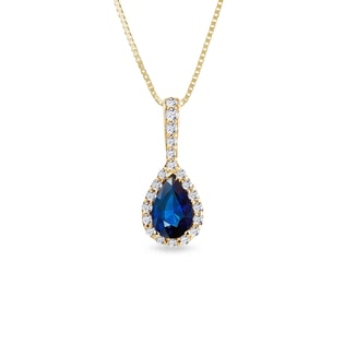 GOLD NECKLACE WITH SAPPHIRE AND DIAMONDS - SAPPHIRE PENDANTS - PENDANTS