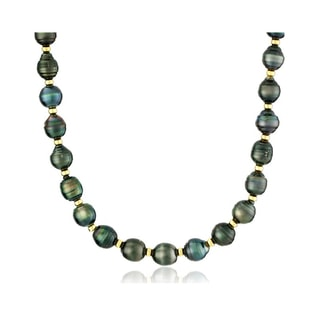 TAHITIAN PEARL NECKLACE WITH STERLING SILVER BEADS - PEARL NECKLACES - PEARL JEWELRY
