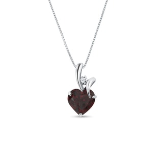 GARNET AND DIAMOND HEART PENDANT IN 14KT GOLD - WHITE GOLD PENDANTS - PENDANTS