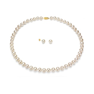 PEARL SET IN 14KT GOLD - PEARL NECKLACES - PEARL JEWELRY