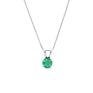 EMERALD PENDANT IN WHITE GOLD - EMERALD PENDANTS - PENDANTS