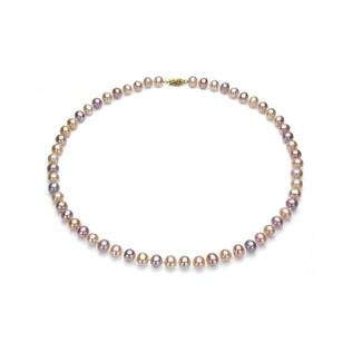 MULTI-COLORED PEARL NECKLACE IN 14KT GOLD - PEARL NECKLACES - PEARL JEWELRY