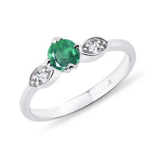 EMERALD RING WITH DIAMONDS - EMERALD RINGS - RINGS