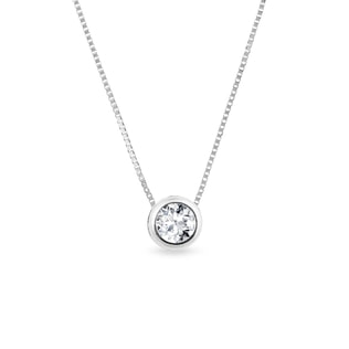 WHITE GOLD NECKLACE WITH DIAMONDS - DIAMOND PENDANTS - PENDANTS