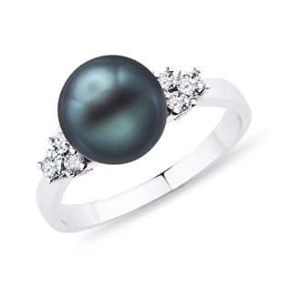 TAHITIAN PEARL AND DIAMOND RING IN 14KT WHITE GOLD - PEARL RINGS - PEARL JEWELRY