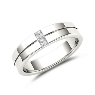 MEN'S DIAMOND RING IN 14KT WHITE GOLD - RINGS FOR HIM - WEDDING RINGS