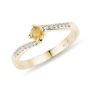 GOLD RING WITH A CITRINE AND DIAMONDS - CITRINE RINGS - RINGS
