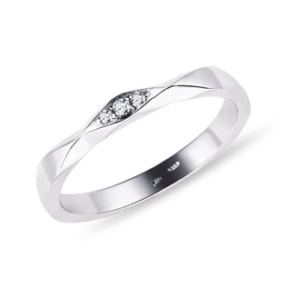 SILVER WEDDING RING WITH DIAMONDS - RINGS FOR HER - WEDDING RINGS