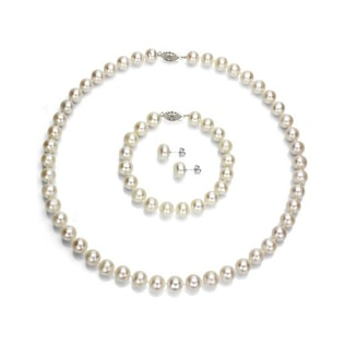 PEARL SET IN SILVER - PEARL SETS - PEARL JEWELLERY