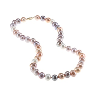 PASTEL PEARL NECKLACE IN 14KT GOLD - PEARL NECKLACES - PEARL JEWELRY