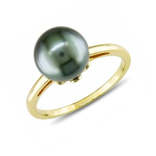 TAHITIAN PEARL RING IN 14KT YELLOW GOLD - PEARL RINGS - PEARL JEWELRY