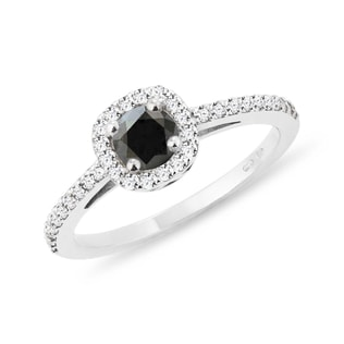 ENGAGEMENT RING WITH BLACK DIAMOND IN WHITE GOLD - WHITE GOLD RINGS - RINGS