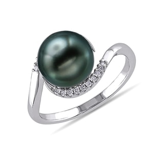TAHITIAN PEARL DIAMOND RING IN STERLING SILVER - PEARL RINGS - PEARL JEWELRY